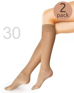 Caresse kniekousen sheer 30 2-pack